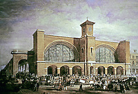 King's Cross Railway Station, London, 1851-52. Detail design by Lewis Cubitt. Main features were arches and a 112 ft. high clock tower.