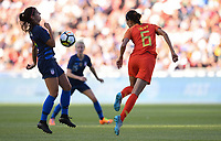 Sandy, Utah - Thursday June 07, 2018: Alex Morgan, Lin Yuping during an international friendly match between the women's national teams of the United States (USA) and China PR (CHN) at Rio Tinto Stadium.
