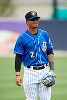 Biloxi Shuckers Angel Ortega (2) warms up before a game against the Jackson Generals on April 23, 2017 at MGM Park in Biloxi, Mississippi.  Biloxi defeated Jackson 3-2.  (Mike Janes/Four Seam Images)