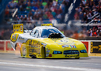 Jul 8, 2017; Joliet, IL, USA; NHRA funny car driver Jim Campbell during qualifying for the Route 66 Nationals at Route 66 Raceway. Mandatory Credit: Mark J. Rebilas-USA TODAY Sports`