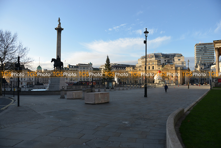General view of a deserted Trafalgar Square during the ongoing Lockdown restrictions in London on 30th December 2020