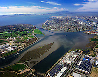 aerial photograph Oakland, Alameda Island, Arrowhead Marsh, California