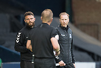 Mark Molesley engages with the match official after a heavy tackle on one of his players during Southend United vs West Ham United Under-21, EFL Trophy Football at Roots Hall on 8th September 2020