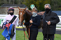 Winner of The Weatherbys TBA Conditions Stakes Apollo One  (pink) ridden by Martin Harley and trained by Peter Charalambous in the Winners enclosure during Horse Racing at Salisbury Racecourse on 1st October 2020