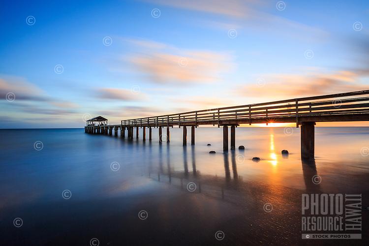 Sunset at Waimea Pier in Waimea Town on the west side of Kaua'i.