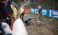 crash<br /> <br /> U23 men's race<br /> <br /> UCI 2016 cyclocross World Championships / Zolder, Belgium