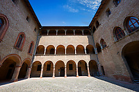 Picture & image of the interior courtyard of the late medieval (13th century) moated urban castle reisdence of Rocca Sanvitale ( Sanvitale Castle ),  Fontanellato, Italy