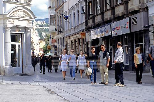 Sarajevo, Bosnia. People in the pedestrian shopping district.