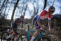 Mathieu Van der Poel (NED/Alpecin-Fenix) attacked with 80km remaining with Jhonatan Narváez (ECU/INEOS Grenadiers) joining him to go catch the breakaway group<br /> <br /> 73rd Kuurne - Brussels - Kuurne 2021<br /> ME (1.Pro)<br /> 1 day race from Kuurne to Kuurne (BEL/197km)<br /> <br /> ©kramon