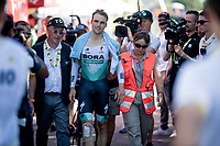 Maximilian Schachmann (DEU/Bora-Hansgrohe) crashed during the TT, but managed to finish the stage.<br /> Afterward it became clear he broke 3 hand-bones and as a consequence wouldn't start the next stage.<br /> <br /> Stage 13 (ITT): Pau to Pau (27km)<br /> 106th Tour de France 2019 (2.UWT)<br /> <br /> ©kramon