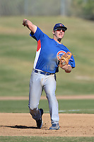 Chicago Cubs third baseman Jesse Hodges (19) during an Instructional League game against the Oakland Athletics on October 16, 2013 at Papago Park Baseball Complex in Phoenix, Arizona.  (Mike Janes/Four Seam Images)