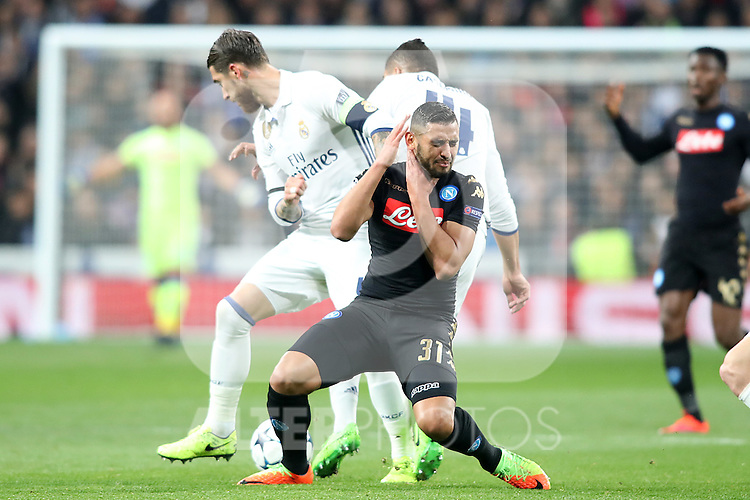 Real Madrid's Sergio Ramos (l) and Carlos Henrique Casemiro (r) and SSC Napoli's Faouzi Ghoulam during Champions League 2016/2017 Round of 16 1st leg match. February 15,2017. (ALTERPHOTOS/Acero)