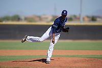 San Diego Padres pitcher Manny Guzman (90) follows through on his delivery during an Instructional League game against the Texas Rangers on September 20, 2017 at Peoria Sports Complex in Peoria, Arizona. (Zachary Lucy/Four Seam Images)
