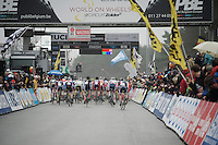 and they're off!<br /> all 61 one of'm!<br /> from 20 countries!<br /> <br /> Men's Elite Race<br /> <br /> UCI 2016 cyclocross World Championships,<br /> Zolder, Belgium