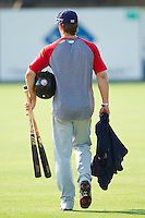 Bryce Harper #34 of the Hagerstown Suns walks across the field carrying his equipment following the game against the Kannapolis Intimidators at Fieldcrest Cannon Stadium on May 30, 2011 in Kannapolis, North Carolina.   Photo by Brian Westerholt / Four Seam Images