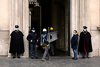 Work in progress in Palazzo Chigi, headquarters of the Italian Ministers during the Government crisis.<br /> Rome(Italy), January 14th 2021<br /> Photo Samantha Zucchi/Insidefoto