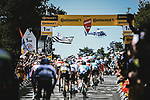 The peloton on the first ascent of Mur-de-Bretagne during Stage 2 of the 2021 Tour de France, running 183.5km from Perros-Guirec to Mur-de-Bretagne Guerledan, France. 27th June 2021.  <br /> Picture: A.S.O./Pauline Ballet   Cyclefile<br /> <br /> All photos usage must carry mandatory copyright credit (© Cyclefile   A.S.O./Pauline Ballet)