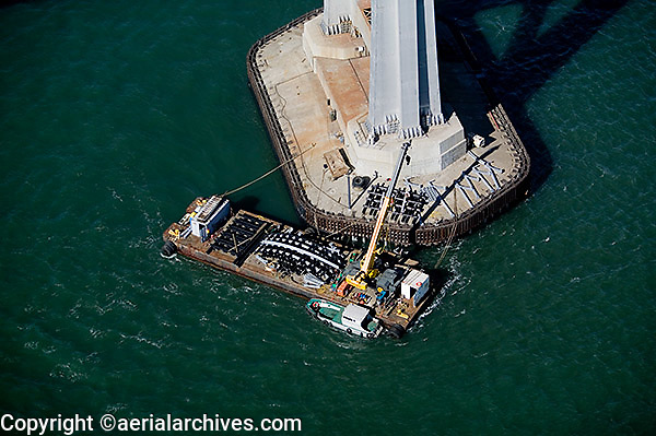 aerial photograph bridge maintenance barge tower of San Francisco Oakland Bay Bridge