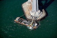 aerial photograph bridge maintenance barge tower of San Francisco Oakland Bay Bridge