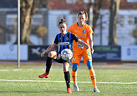 Charlotte Laridon (15 Brugge) pictured in a fight for the ball with Heleen Jaques (4 Gent) during a female soccer game between Club Brugge Dames YLA and AA Gent Ladies on the sixth matchday of the 2020 - 2021 season of Belgian Scooore Womens Super League , saturday 7 th November 2020  in Knokke , Belgium . PHOTO SPORTPIX.BE | SPP | DAVID CATRY