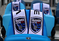 SAN JOSE, CA - MAY 15: Quakes scarves before a game between Portland Timbers and San Jose Earthquakes at PayPal Park on May 15, 2021 in San Jose, California.