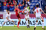 Do Hung Dung of Vietnam (L) fights for the ball with Khalil Baniateyah of Jordan (R) during the AFC Asian Cup UAE 2019 Round of 16 match between Jordan (JOR) and Vietnam (VIE) at Al Maktoum Stadium on 20 January 2019 in Dubai, United Arab Emirates. Photo by Marcio Rodrigo Machado / Power Sport Images