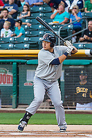 Ji-Man Choi (38) of the Tacoma Rainiers at bat against the Salt Lake Bees in Pacific Coast League action at Smith's Ballpark on August 31, 2015 in Salt Lake City, Utah. Salt Lake defeated Tacoma 6-5.  (Stephen Smith/Four Seam Images)