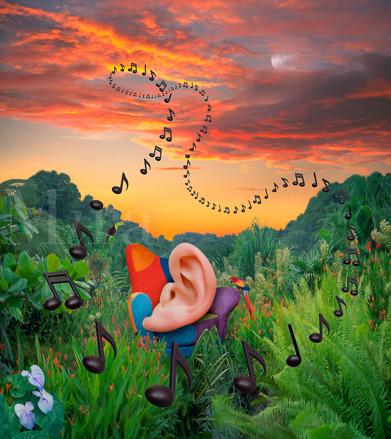 Digital illustration: surround sound.