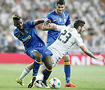 Real Madrid's Isco (r) and Juventus' Paul Pogba (l) and Alvaro Morata during Champions League 2014/2015 Semi-finals 2nd leg match.May 13,2015. (ALTERPHOTOS/Acero)