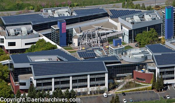 aerial photograph of Google, Alphabet headquarters, Mountain View, Santa Clara county, California