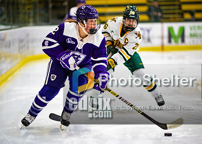 2 February 2020: Holy Cross Crusader Defender Kailey Langefels, a Freshman from Minnetonka, MN, in second period action against the University of Vermont Catamounts at Gutterson Fieldhouse in Burlington, Vermont. The Lady Cats rallied in the 3rd period to tie the Crusaders 2-2 in NCAA Women's Hockey East play. Mandatory Credit: Ed Wolfstein Photo *** RAW (NEF) Image File Available ***