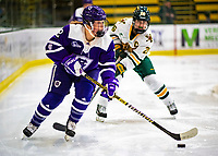 2 February 2020: Holy CrossCrusader Defender Kailey Langefels, a Freshman from Minnetonka, MN, in second period action against the University of Vermont Catamounts at Gutterson Fieldhouse in Burlington, Vermont. The Lady Cats rallied in the 3rd period to tie the Crusaders 2-2 in NCAA Women's Hockey East play. Mandatory Credit: Ed Wolfstein Photo *** RAW (NEF) Image File Available ***