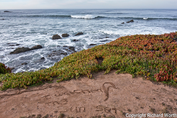 """A message in the sand, """"I watched the sun set,"""" discovered one Sunday morning near Pigeon Point Lighthouse."""