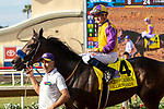 """DEL MAR, CA  JULY 28: #4 Ollie's Candy, ridden by Kent Desormeaux, returns to the connections after winning the Clement L Hirsch Stakes (Grade 1) a Breeders' Cup """"Win and You're In"""" Distaff Division (Photo by Casey Phillips/Eclipse Sportswire/CSM)"""