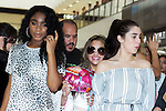 (L to R) Normani Hamilton, Ally Brooke and Lauren Jauregui, members of the American five-piece girl group Fifth Harmony, arrive at Narita International Airport on July 7, 2016, Chiba, Japan. Fifth Harmony are in Japan for the first time to promote their new song Work from Home. Fifth Harmony flew 25 hours from Sau Paulo to Japan after finishing their tour of South America. (Photo by Rodrigo Reyes Marin/AFLO)