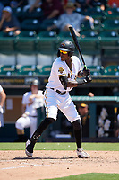Bradenton Marauders Oneil Cruz (3) at bat during a Florida State League game against the St. Lucie Mets on July 28, 2019 at LECOM Park in Bradenton, Florida.  Bradenton defeated St. Lucie 7-3.  (Mike Janes/Four Seam Images)
