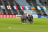 ST PAUL, MN - OCTOBER 28: Minnesota United FC huddle during a game between Colorado Rapids and Minnesota United FC at Allianz Field on October 28, 2020 in St Paul, Minnesota.