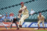 Florida State Seminoles starting pitcher Andrew Karp (19) in action against the North Carolina Tar Heels in the 2017 ACC Baseball Championship Game at Louisville Slugger Field on May 28, 2017 in Louisville, Kentucky. The Seminoles defeated the Tar Heels 7-3. (Brian Westerholt/Four Seam Images)