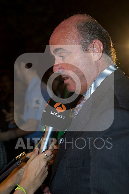 Luis de Guindos visits San Isidro funeral home following the death of Miguel Boyer in Madrid, Spain. September 29, 2014. (ALTERPHOTOS/Victor Blanco)
