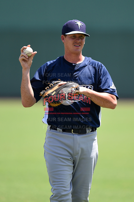 GCL Rays first baseman Zach Marberry (34) warming up before a game against the GCL Red Sox on June 25, 2014 at JetBlue Park at Fenway South in Fort Myers, Florida.  GCL Red Sox defeated the GCL Rays 7-0.  (Mike Janes/Four Seam Images)