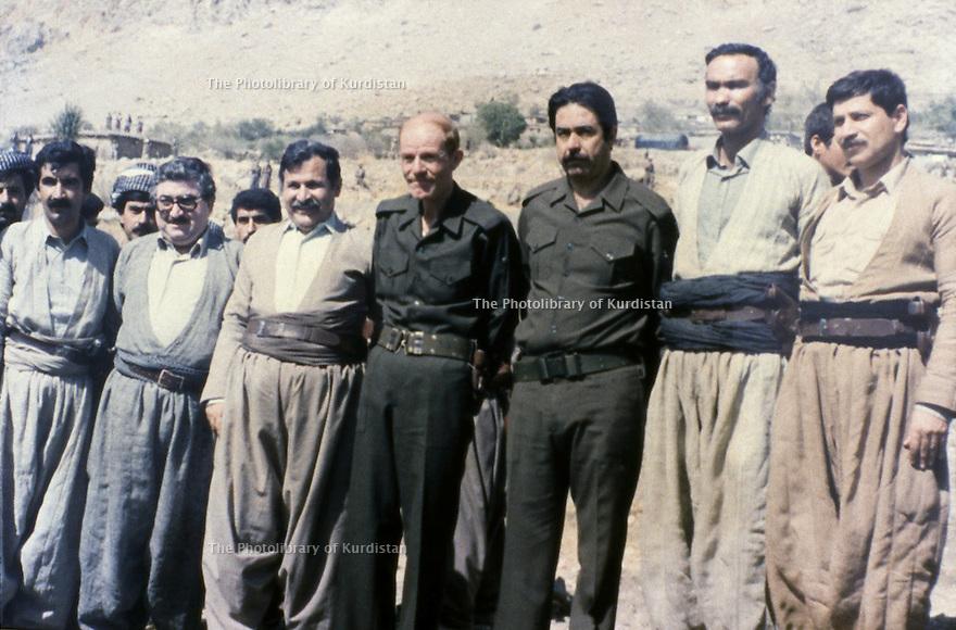 Iraq 1984 Meeting of the Kurds with the Iraqi officials: From right to left :2nd Nawshirwan Mustafa, Ali Hassan al Majid , Izzat Douri, Jalal Talabani and Fuad Masum in Surdach near Dokan.Irak 1984.Rencontre des Kurdes avec des officiels irakiens: 2 eme a droite, Nawshirwan Mustafa,Ali Hassan al Majid, Izzat Douri, Jalal Talabani et Fouad Masum