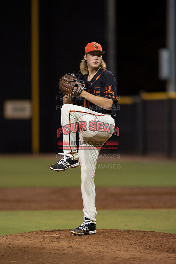 AZL Giants Black relief pitcher Ben Strahm (13) delivers a pitch during an Arizona League game against the AZL Angels at the San Francisco Giants Training Complex on July 1, 2018 in Scottsdale, Arizona. The AZL Giants Black defeated the AZL Angels by a score of 4-2. (Zachary Lucy/Four Seam Images)