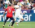 Spain's Andres Iniesta (l) and South Korea's Hyunsoo Jang during friendly match. June 1,2016.(ALTERPHOTOS/Acero)
