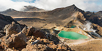 Emerald Lakes on Tongariro Alpine Crossing Track Tongariro Nationasl Park, Central Plateau, North Island, UNESCO World Heritage Area, New Zealand, NZ