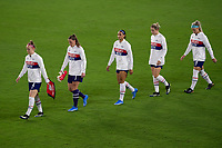 ORLANDO CITY, FL - FEBRUARY 18: Becky Sauerbrunn #4 leads the USWNT starting XI to the field prior to a game between Canada and USWNT at Exploria stadium on February 18, 2021 in Orlando City, Florida.