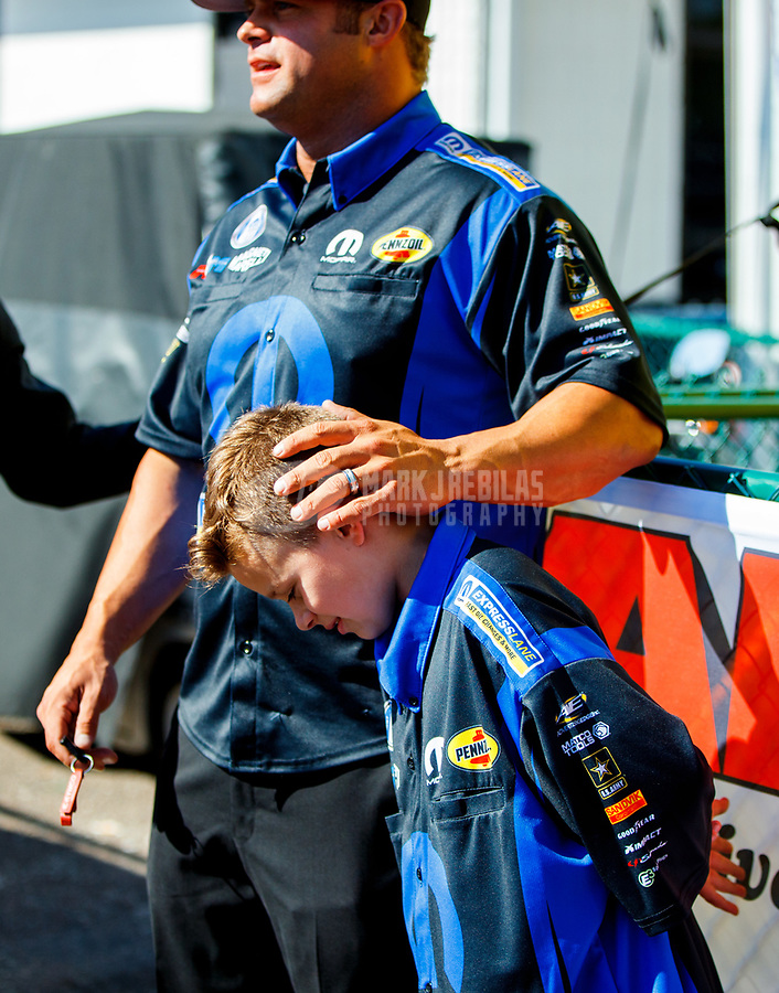 Mar 19, 2017; Gainesville , FL, USA; NHRA funny car driver Matt Hagan and son Colby Hagan during the Gatornationals at Gainesville Raceway. Mandatory Credit: Mark J. Rebilas-USA TODAY Sports