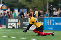 HARTFORD, CT - AUGUST 17: Paul Lewis #28 of Charleston Battery makes a save before a game between Charleston Battery and Hartford Athletic at Dillon Stadium on August 17, 2021 in Hartford, Connecticut.