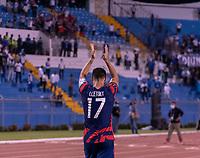 SAN PEDRO SULA, HONDURAS - SEPTEMBER 8: Sebastian Lletget #17 of the United States salutes the crowd after a game between Honduras and USMNT at Estadio Olímpico Metropolitano on September 8, 2021 in San Pedro Sula, Honduras.