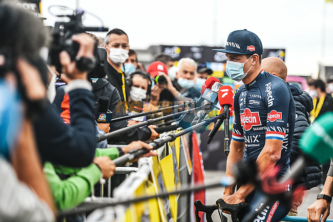 Mathieu Van Der Poel (NED) Aplecin-Fenix speaks to media before Stage 2 of the 2021 Tour de France, running 183.5km from Perros-Guirec to Mur-de-Bretagne Guerledan, France. 27th June 2021.  <br /> Picture: A.S.O./Charly Lopez | Cyclefile<br /> <br /> All photos usage must carry mandatory copyright credit (© Cyclefile | A.S.O./Charly Lopez)