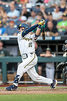 Michigan Wolverines third baseman Blake Nelson (10) follows through on his swing against the Vanderbilt Commodores during Game 2 of the NCAA College World Series Finals on June 25, 2019 at TD Ameritrade Park in Omaha, Nebraska. Vanderbilt defeated Michigan 4-1. (Andrew Woolley/Four Seam Images)